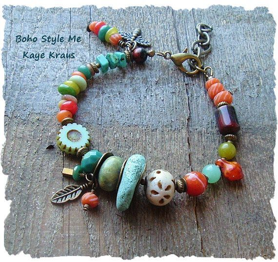 awesome Bohemian Jewelry, Boho Colorful Bracelet, Turquoise Jewelry, Nature Girl, Rustic Earthy Tribal, Boho Style Me, Kaye Kraus