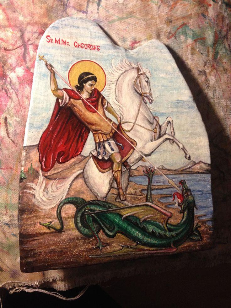 https://flic.kr/p/22DeyF2 | Sfantul Mare Mucenic Gheorghe | tempera pe panza lipita pe lemn