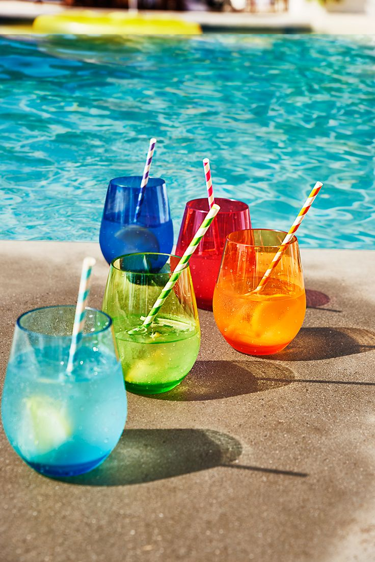 Pier 1's Clarity drinkware brightens your patio party with sleek good looks and a spectrum of dazzling colors. And this BPA-free acrylic drinkware is perfect for poolside entertaining because it's practically indestructible; they're top-rack dishwasher-safe and shatter-resistant.