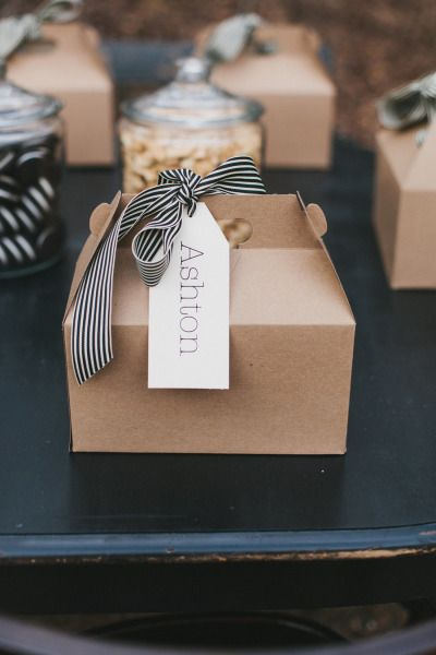 gable box with black and white striped ribbon