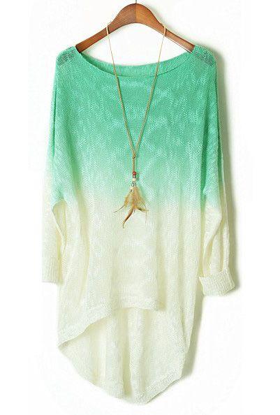 Turquoise Gradient Batwing Long Sleeve Sheer Sweater - Sheinside.com