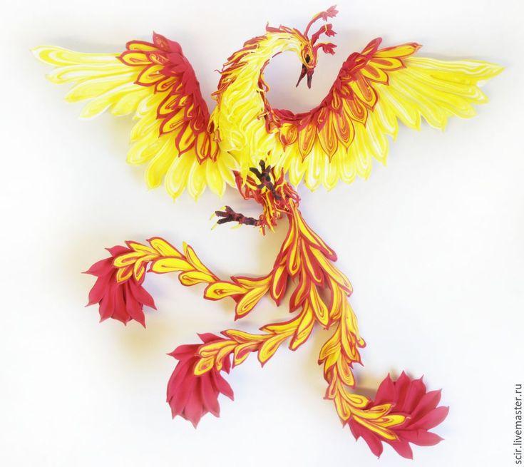"Купить пано ""Жарптица солнечная"" (жар-птица, феникс - огонь, пламя) - желтый, птица феникс"