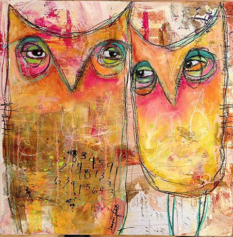 Just Act Natural by Jacqui Fehl mixed media on cradled wood