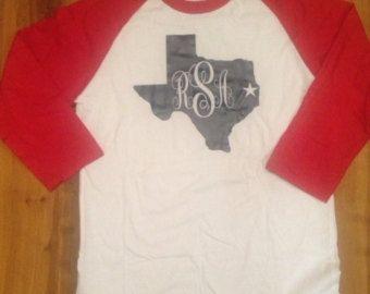 State of Texas Monogram Shirt Texas Shirt by SweetSassyMonograms