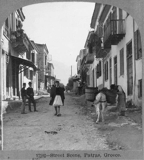 Photo: Street scene,Patras,Greece,July 11,1910