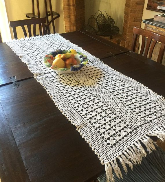 White Table Runner Extra Long Table Runner by EmptyingTheAttic