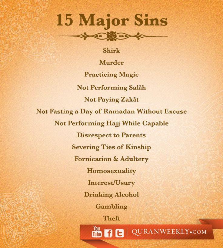 15 Major Sins - #alhamdulillahforeverything #alhamdulillah #TheProphetMuhammad…