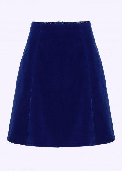 Grunten Mode 60er A Line Skirt I Bla Velour Musthaves A Line