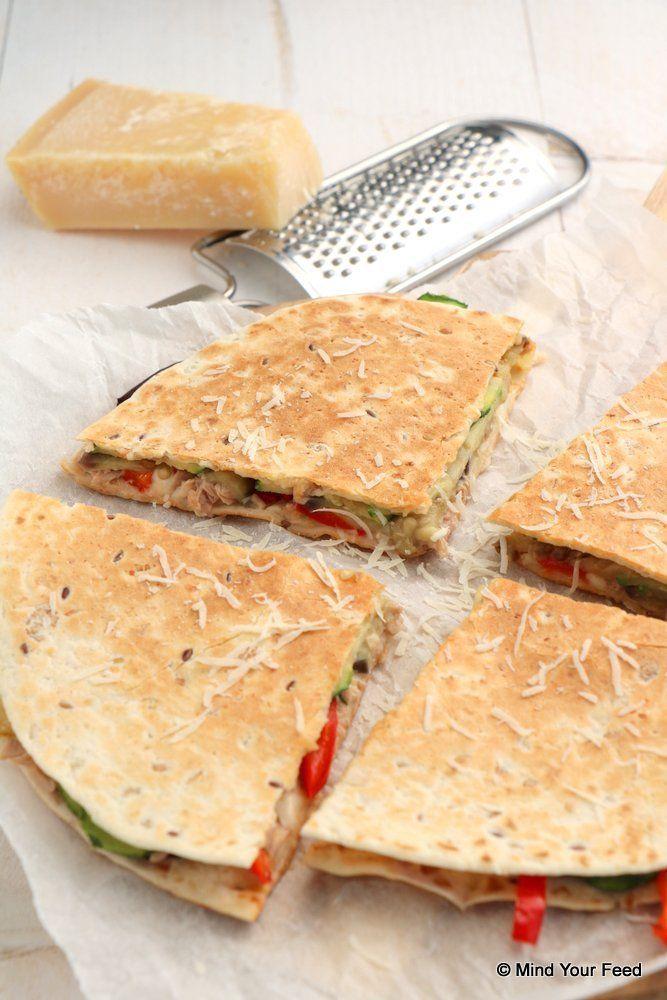 Quesadilla met tonijn en gegrilde groenten - Mind Your Feed #quesadilla #tuna #grilled #vegetables