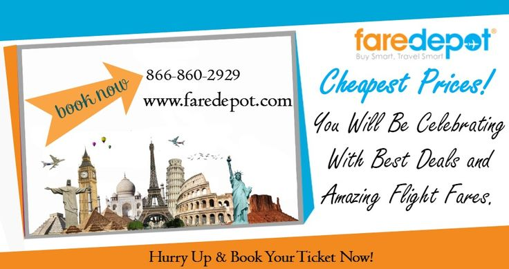 Are you thinking about to booking cheap tickets on flights? Don't waste your time. Book low fare flight tickets with Faredepot and avail great airfare deals, discounts and savings. Get your cheap flights tickets today!
