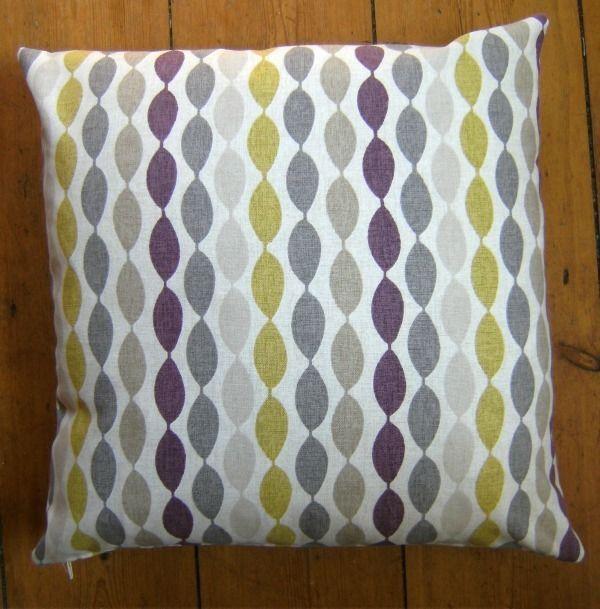 Cushion Cover Twist Elderberry Retro Pattern Clarke & Clarke Fabric 16  x 16