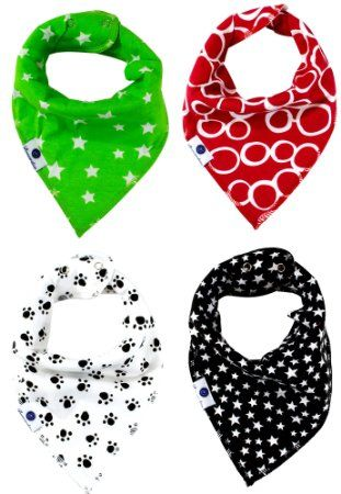 Bonzerdigs Bandana Dribble and Drool Bibs (4 Pack) with Adjustable Snaps for Boys/Girls/Unisex - Absorbent Cotton Cloth - Perfect Baby Shower/Christmas Gift Set
