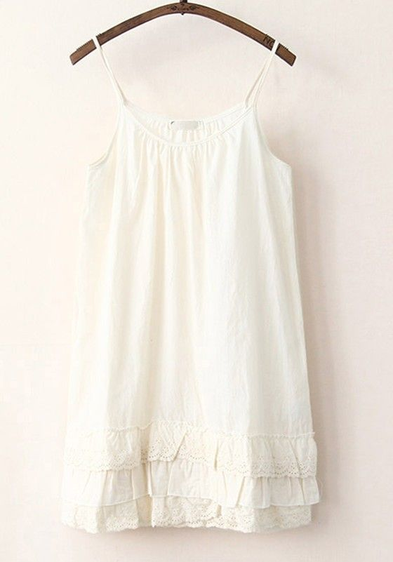 Beige Plain Falbala Round Neck Ankle Cotton Dress