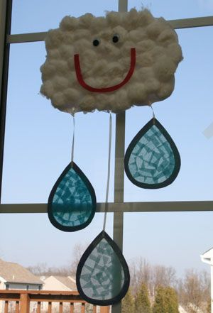 adorable idea! Raining Cloud Craft On a rainy spring day what could be more fun than making your own raincloud inside! This cute cloud craft is a great preschool craft. The cloud is made with cotton balls and a construction paper smile. The raindrops are made from tissue paper and contact paper so the light from the window can shine through just like a real raindrop.