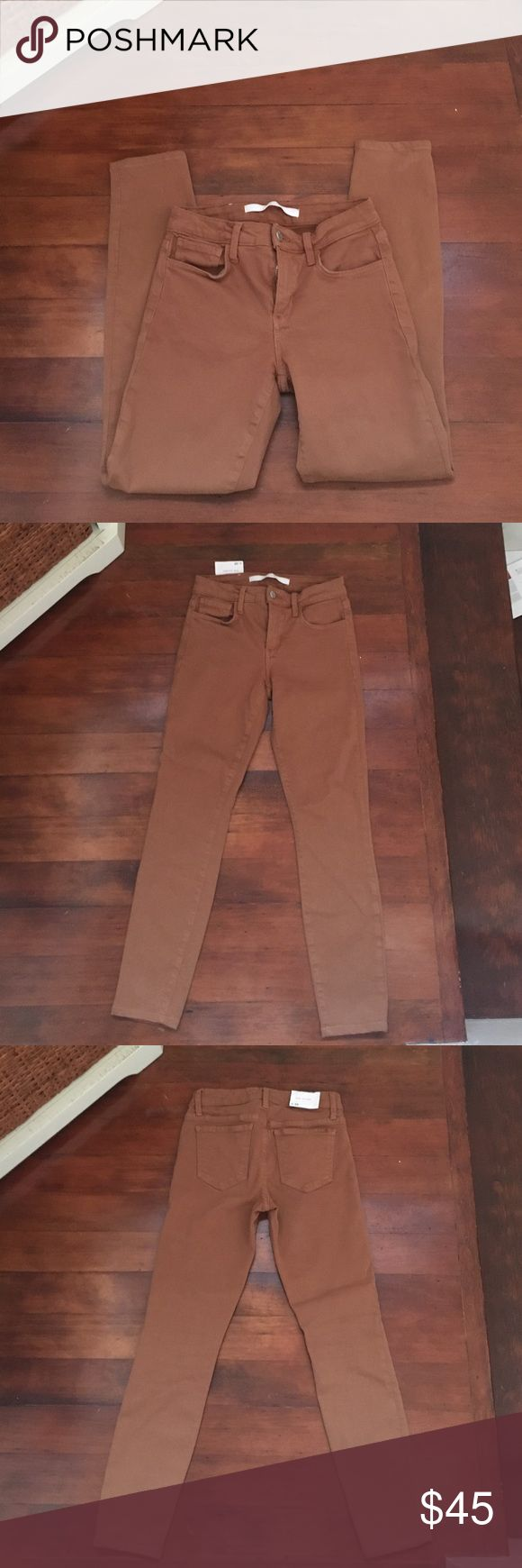 """EUC Joe's Jeans The Skinny in Tan In excellent condition no marks or stains 34"""" in length 26"""" inseam 8.5"""" rise have stretch and form becky to body Joe's Jeans Jeans Skinny"""