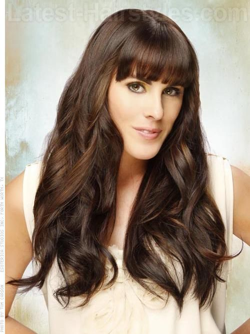 Long Brunette Style with Waves and Long Bangs
