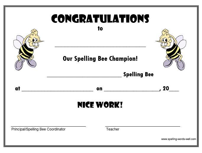 Best 25+ Bee certificate ideas on Pinterest Spelling bee - first place award template