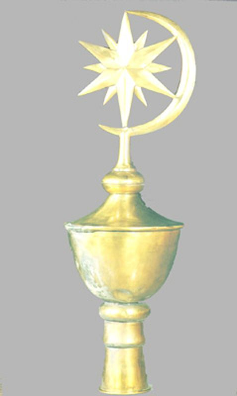 Ottoman Tent Pole made from brass metal consists of a 12-point star and one crescent.