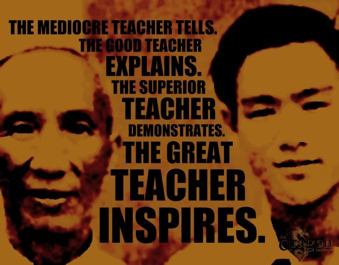"""The Great Teacher Inspires"" Yip Man and Bruce Lee poster.     Keywords: martial arts, wing chun, kung fu, jeet kune do"
