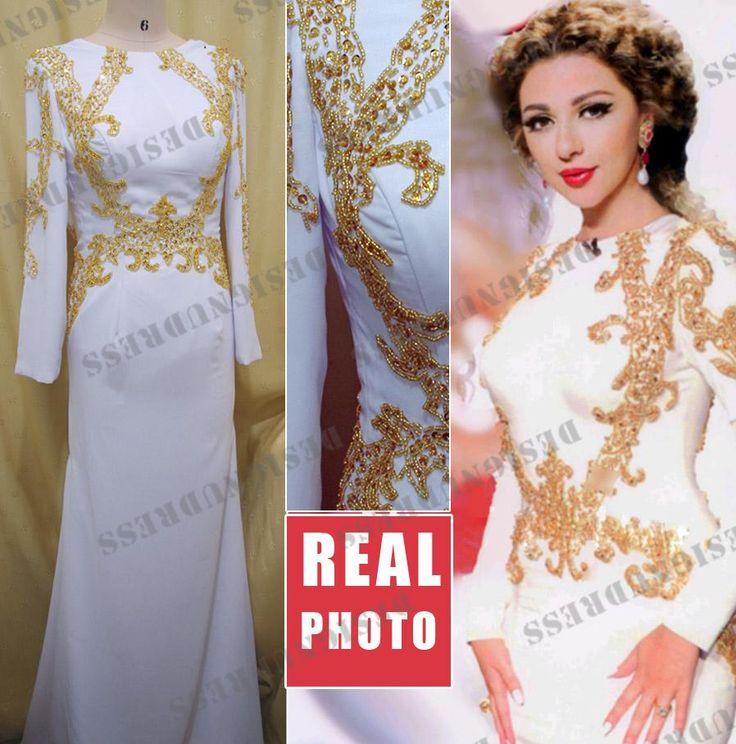 2013 Myriam Fares White long Sleeve Gold Beads High Neck Full Length Side Slit Prom Dress Custom made