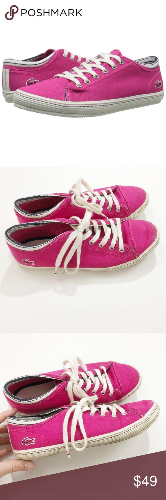 lacoste • pink fuchsia canvas fashion sneaker • 9 Fuchsia canvas sneaker from Lacoste. Low-top sneaker featuring lace-up vamp and iconic crocodile logo at heel  • 100% Canvas Cotton • Rubber wraparound sole • Ortholite performance insoles • size 9, but this brand runs large so fits more like a 9.5 • gently worn but still have a lot of life left in them Lacoste Shoes Sneakers