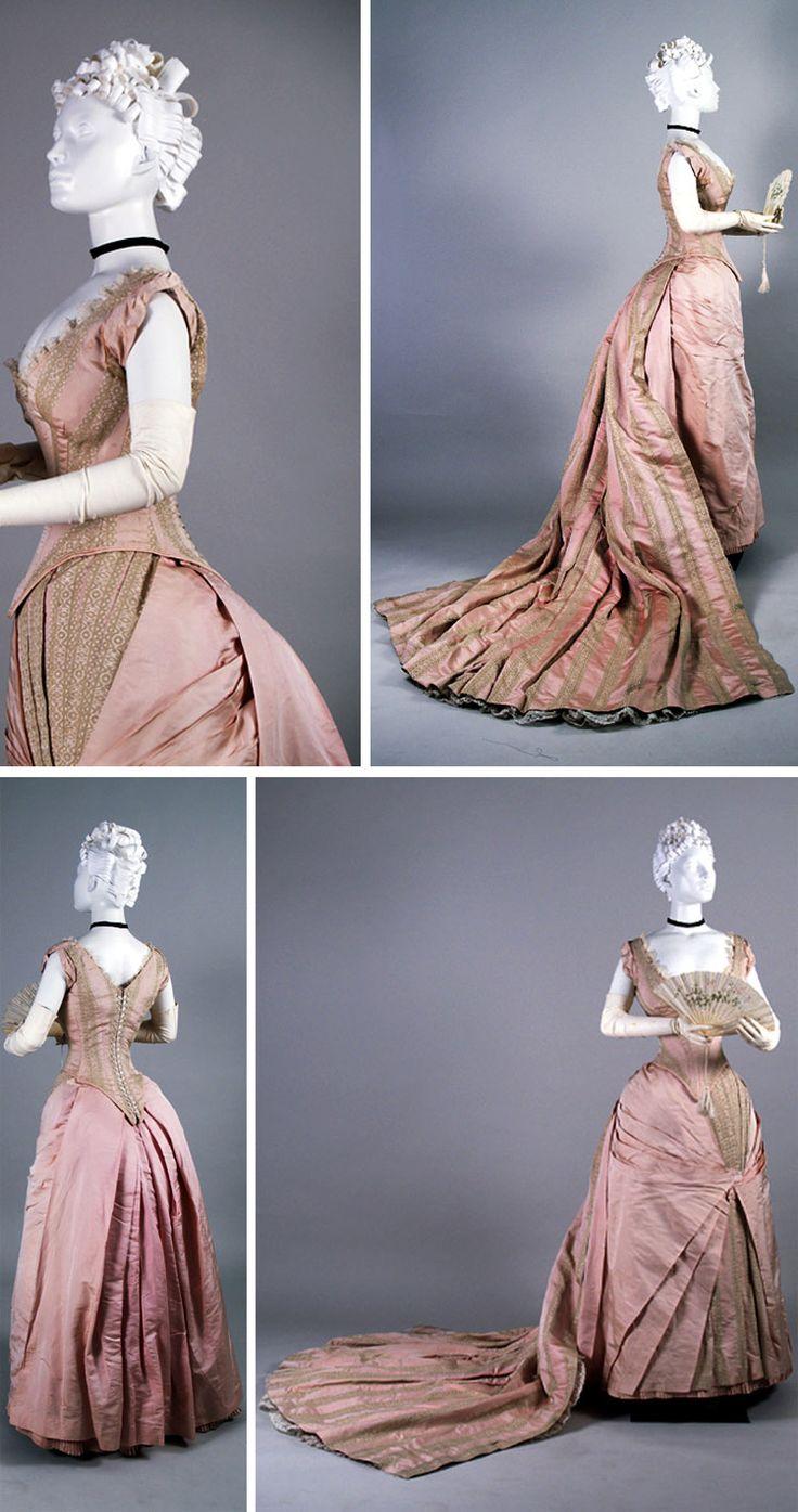 Evening dress with presentation train, United Kingdom, ca. 1880s. Plain and brocaded pink silk faille. Photo: Anne Bissonnette. Univ. of Alberta TOP EVENING DRESSES: http://999dresses.blogspot.com/