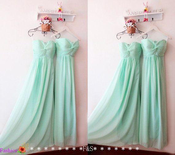 Mint Bridesmaid DressModest Long Chiffon by FashionStreets on Etsy