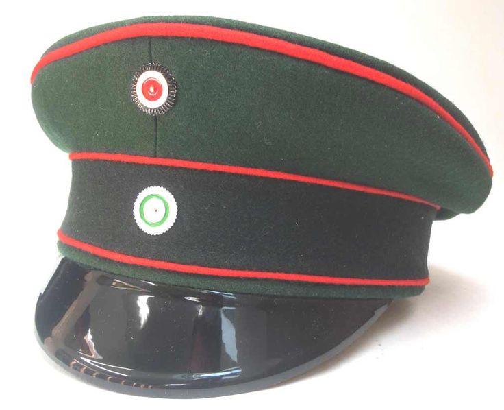 Sachsen (Saxon) NCO's Schirmmütze Kgl. Sächs. Schützen (Füsilier)-Regiment Prinz Georg Nr.108, Dresden.   Sachsen (Saxon) NCO's Schirmmütze from Kgl. Sächs. Schützen (Füsilier)-Regiment Prinz Georg Nr.108, Dresden, XII Armee Korps. This very nice quality Schirmmütze is made from a high quality Dunkelgrün (dark green) doeskin wool with Ponceaurot (poppy red) piping. The Sachsen Dunkelgrün was darker than Preußen Jäger, looking almost green/black.  www.warhats.com #warhats