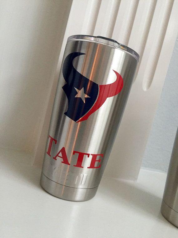 Personalized Yeti Rambler/Colster Texans, SMU, TCU,  Dallas Cowboys, Saints, Aggie, Oklahoma