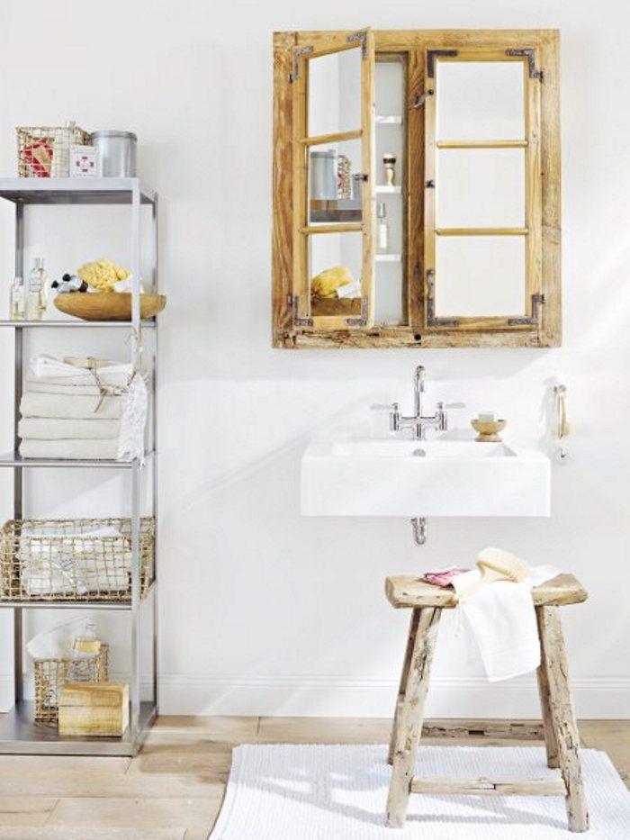 Janela antiga transformada em espelho de banheiro casa - Spiegelschrank bad weiay ...