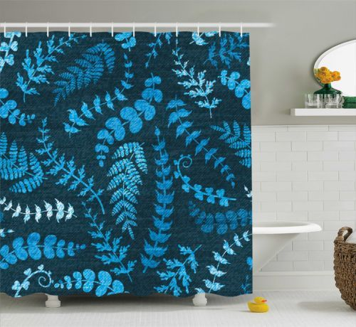 Blue Shower Curtain Floral Swirl Leaves Branch Print For Bathroom 75 Inches Long