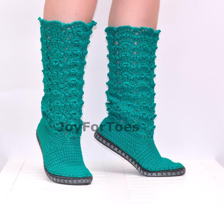 Crochet Shoes Crochet Lace Boots Emerald Green Made от JoyForToes