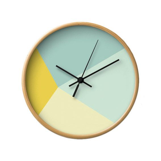 Mint and yellow wall clock Abstract wall clock by LatteHome