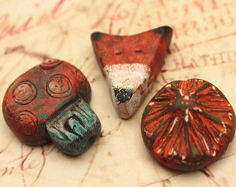 3 Autumn beads, rustic polymer clay  beads, nature beads, fox, mushroom, flower, woodland art bead, orange, fall, brown, greens,  whimsical