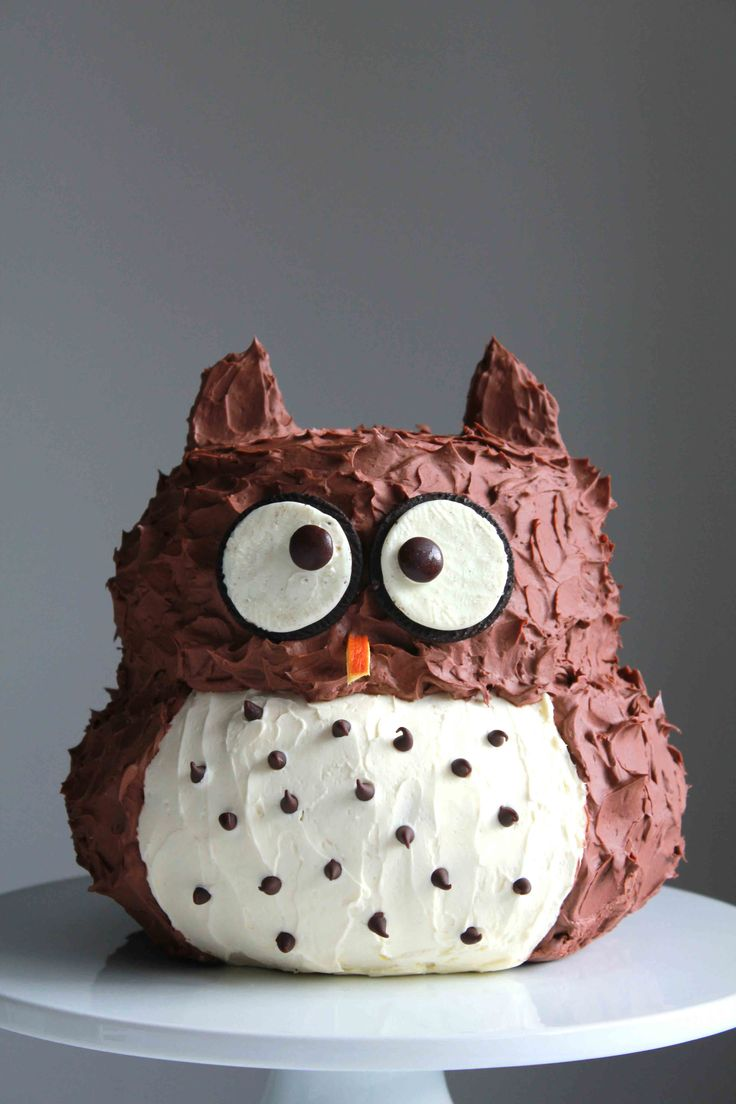 Owl Cake Ingredients: 2 batches chocolate devil's food cake 3 sticks unsalted