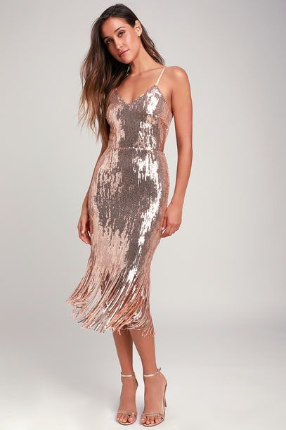 b95cadec1fb ANJOU ROSE GOLD SEQUIN FRINGE MIDI DRESS