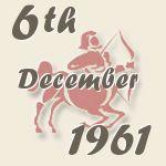 6 december 1961 viel op de 1e woensdag van de maand. Deze dag was de 340e dag van het jaar. Ben je op deze dag geboren dan is je sterrenbeeld Boogschutter. In de Chinese astrologie valt deze dag in het jaar van de Metaal Os. De zon kwam op om 8:31 en ging onder om 16:30. De maan was voor 5% zichtbaar. Op deze dag had Nederland een bevolking van ongeveer 11.709.247, waarvan 50,19% vrouwen. De populatie groeide rondom deze datum met gemiddeld 452 per dag.   http://www.datum.nl/6-12-1961