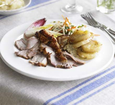 If you're entertaining a crowd, keep the cooking laid-back but delicious with this tender roast pork and homemade apple sauce