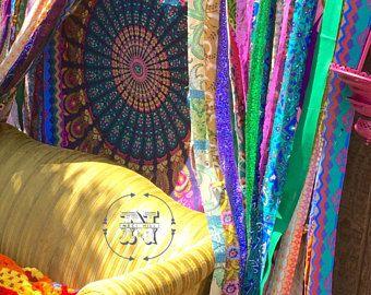 Cortinas de hippie Boho cortina basura gitana adolescente habitación-dormitorio-Hippy-Glamping boda lentejuelas puerta colgante Mandala tapiz trapo Garland telón de fondo
