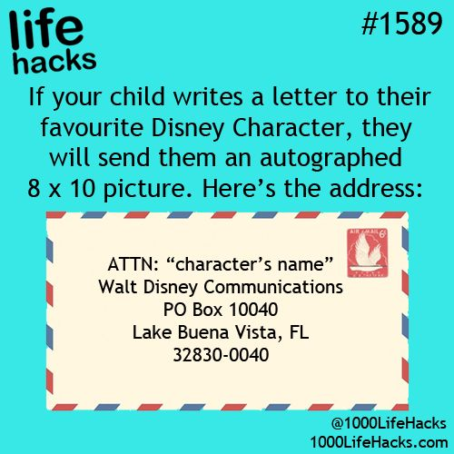 Your child want an autograph of a disney princess?? Then send a letter to them and wait to see the biggest smile on their face.