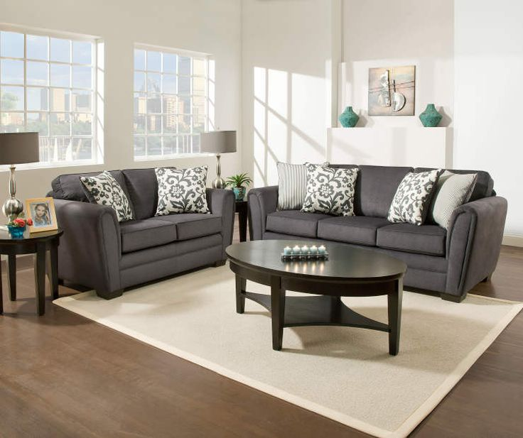 Buy a simmons flannel charcoal living room furniture for Simmons living room furniture