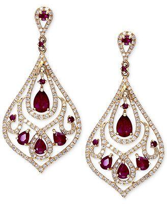 Gemma by EFFY Ruby (2-3/4 ct. t.w.) and Diamond (1 ct. t.w.) Drop Earrings in 14k Gold