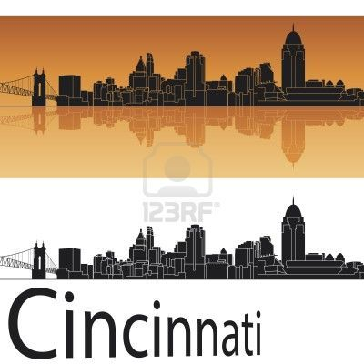Cincinnati skyline in orange background in editable vector file Stock Photo - 18023372