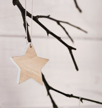 A close-up of a hanging star-shaped pine wood decoration hanging from the branch. Love the plain wood!