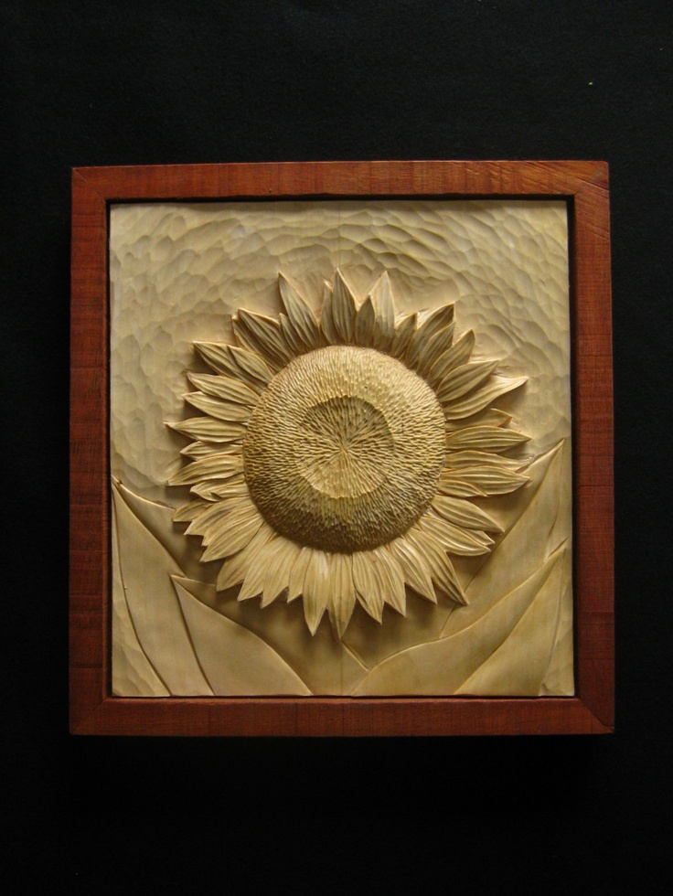Sunflower wood carving Got to try this with my new Dremmel!