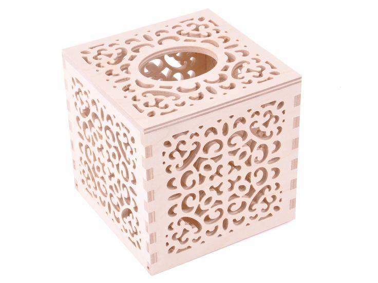 Pudełko na chusteczki, mieści w sobie kartonik sześcienny z chusteczkami. Idealny na jesień!