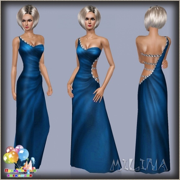 Sims 3 blue dress 80s