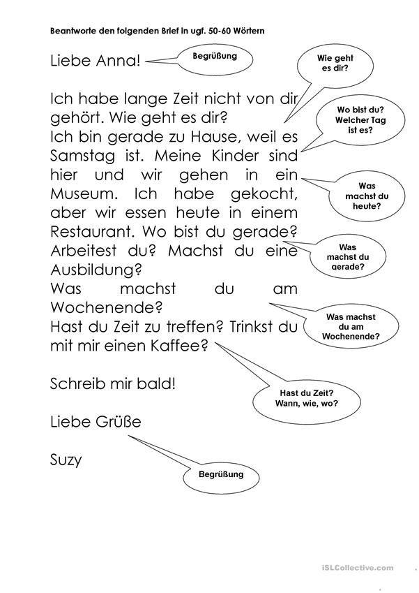 A1 Brief Zum Lesen Und Beantworten German German Travel