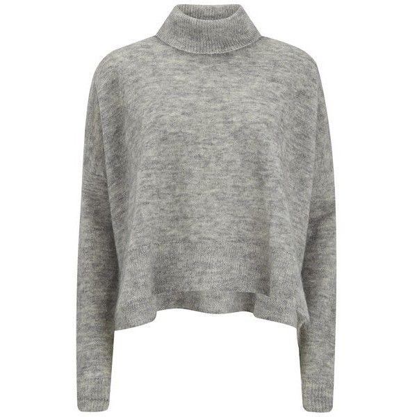 Designers Remix Women's Fino Turtle Neck Sweatshirt found on Polyvore featuring tops, hoodies, sweatshirts, sweaters, grey, turtleneck tops, grey turtleneck, sweatshirts hoodies, gray sweatshirt and grey top