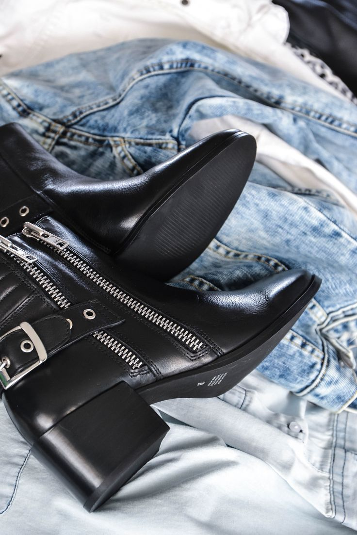 AVA Black Leather Biker Boot  Photo via @bohotailor
